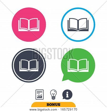 Book sign icon. Open book symbol. Report document, information sign and light bulb icons. Vector