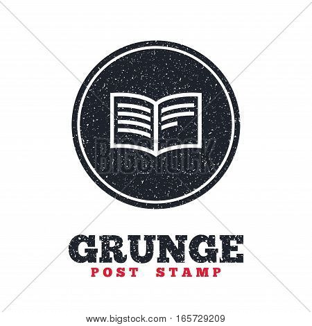 Grunge post stamp. Circle banner or label. Book sign icon. Open book symbol. Dirty textured web button. Vector