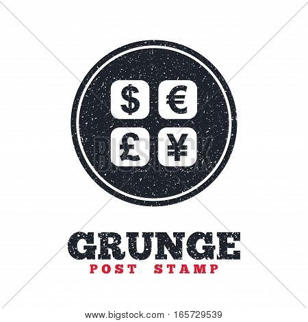 Grunge post stamp. Circle banner or label. Currency exchange sign icon. Currency converter symbol. Money label. Dirty textured web button. Vector
