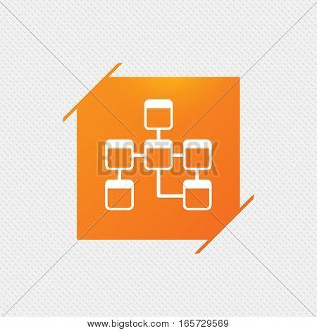 Database sign icon. Relational database schema symbol. Orange square label on pattern. Vector
