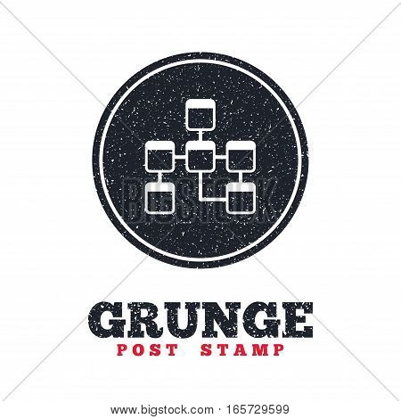 Grunge post stamp. Circle banner or label. Database sign icon. Relational database schema symbol. Dirty textured web button. Vector