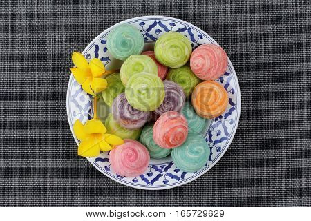 Colorful Chinese Pastry Put Mung Bean With Egg Yolk.