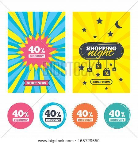 Sale banners, online shopping. 40 percent discount sign icon. Sale symbol. Special offer label. Shopping night. Vector