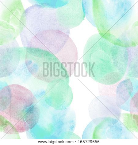 Watercolor circle hand drawn seamless pattern background.