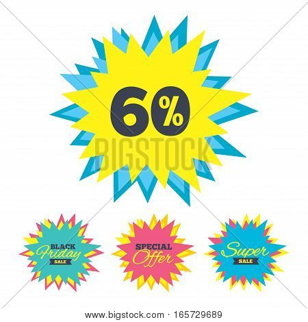 Sale stickers and banners. 60 percent discount sign icon. Sale symbol. Special offer label. Star labels. Vector