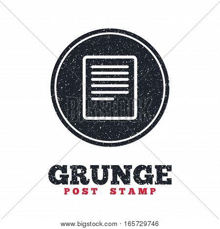 Grunge post stamp. Circle banner or label. Text file sign icon. File document symbol. Dirty textured web button. Vector