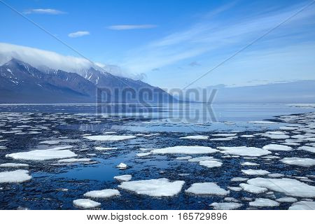 Floating ice on smooth water surface next to the mountains in spring day