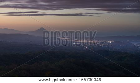 Dusk time at managua cityscape panoramic aerial view