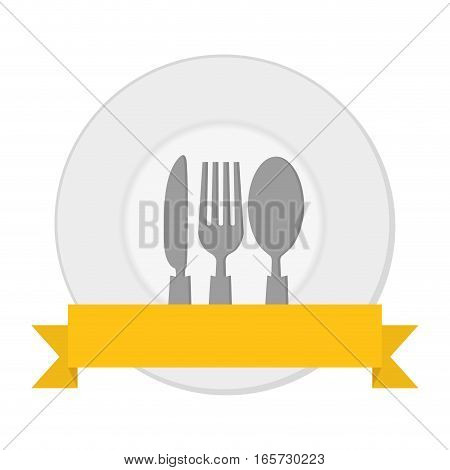 plate with silverware and decorative ribbon over white background. colorful design. vector illustration