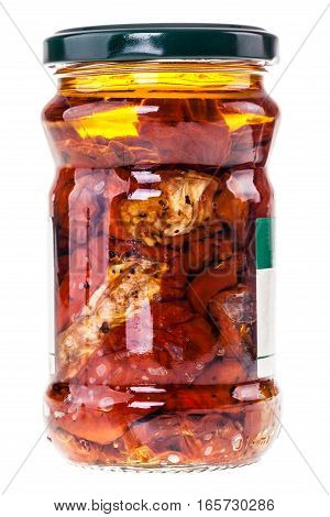 Dried Tomatoes Jar On White