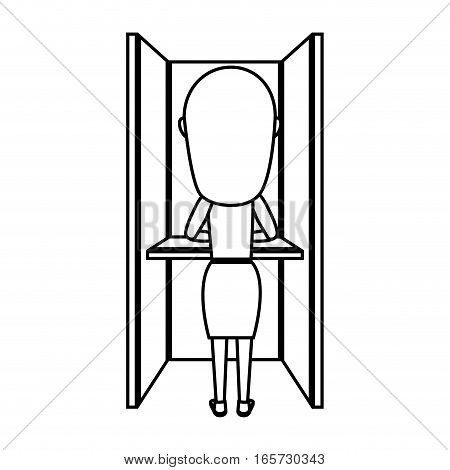 Person voting in cubicle vector illustration design