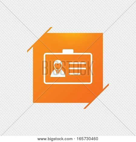 ID card sign icon. Identity card badge symbol. Orange square label on pattern. Vector