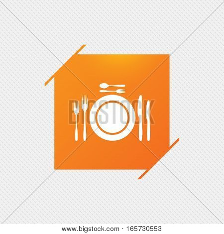 Plate dish with forks and knifes. Dessert trident fork with teaspoon. Eat sign icon. Cutlery etiquette rules symbol. Orange square label on pattern. Vector