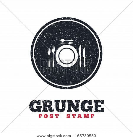Grunge post stamp. Circle banner or label. Plate dish with forks and knifes. Dessert trident fork with teaspoon. Eat sign icon. Cutlery etiquette rules symbol. Dirty textured web button. Vector