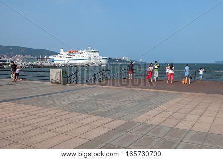 Weihai Shandong China - July 29 2014: Seaside park in summer