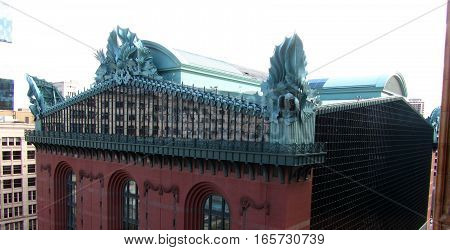 Roof Architecture of Harold Washington Library Center in Chicago