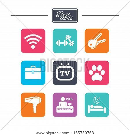 Hotel, apartment service icons. Wi-fi internet. Reception, pets allowed and hairdryer symbols. Colorful flat square buttons with icons. Vector
