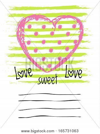 Vector Saint Valentines Day greeting card. Hand drawn cover in doodle style with congratulation place.