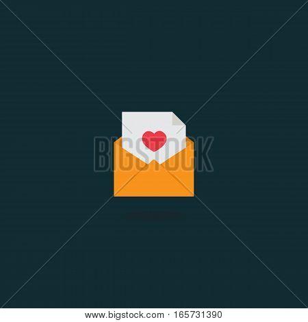 Flat Design of Love Letter in Envelope Icon