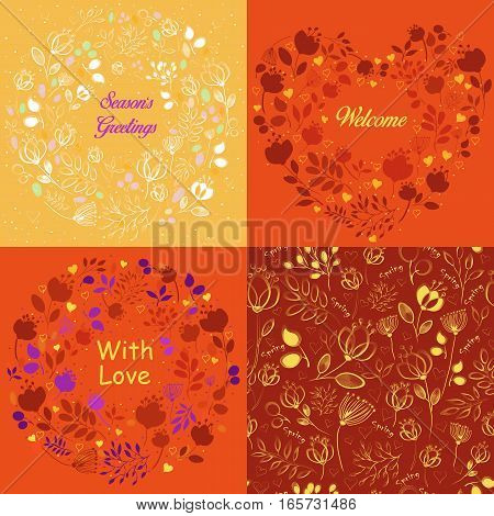 Yellow and orange floral patterns set. Delicate silhouettes of flowers and plants. Drawing effect. Seamless pattern. Heart with text Welcome. Rings with texts - Season greetings With love