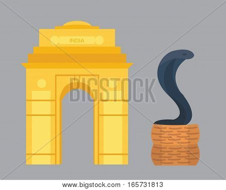 India landmark travel vector and cobra snake icon. Culture sign design historic hinduism elements. Modern tradition beautiful travel time symbols.