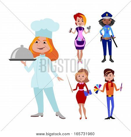 People different professions vector illustration. Success teamwork diversity human work lifestyle. Standing successful young person character in uniform.