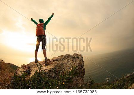 successful hiker hiking on seaside mountain peak