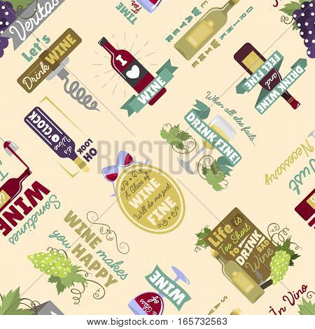 Seamless pattern with bottles and glasses vector illustration. Restaurant bar menu vintage drink. Decorative colorful vine art ornament beverage.