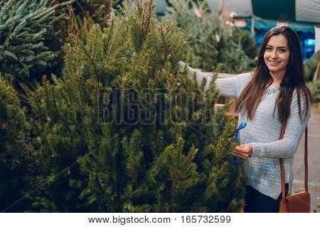 beautiful girl chooses a Christmas tree at the fair