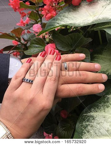 wedding, wedding rings, love, newlyweds, arms, red nails