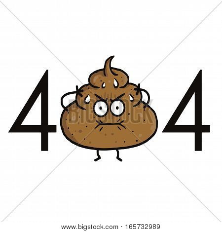 Page Not Found Error 404. Poop Cartoon for Website Projects Template