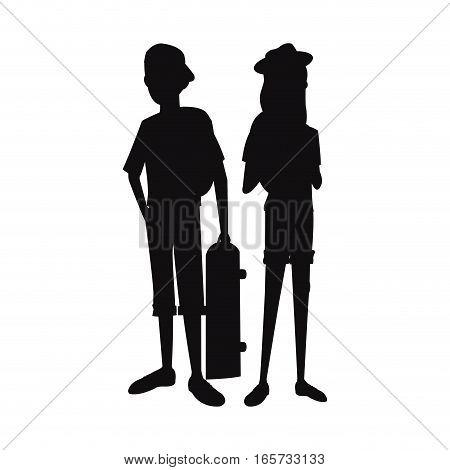 silhouette teens boy girl skate and cap vector illustration