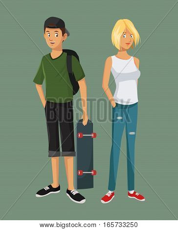 teens girl blonde boy casual outfits with skate bag cap vector illustration eps 10