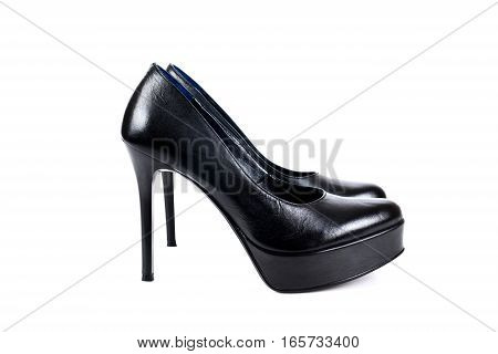 Black women's high-heeled shoes on a white background