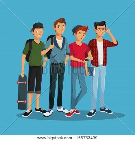 teens boy fashionable skate rucksack glasses cap vector illustration eps 10