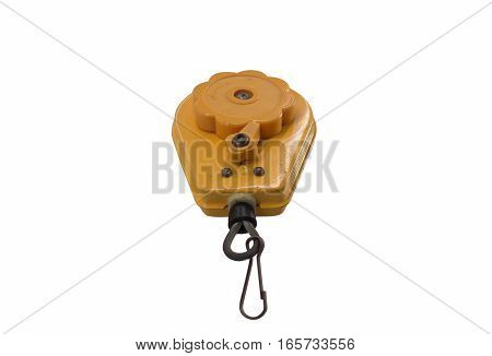Compact spring balance with a hook on white background