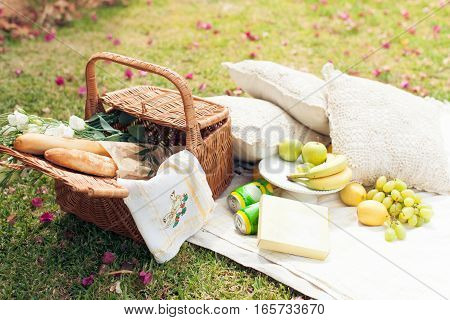 Picnic on the grass. Straw basket, flowers, fruit and bread