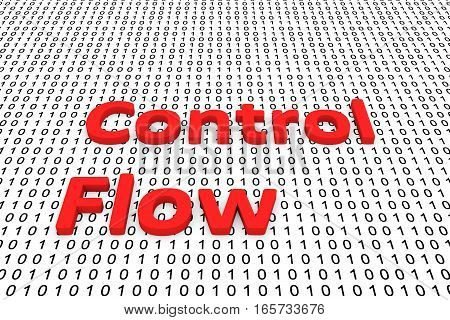 control flow in the form of binary code, 3D illustration