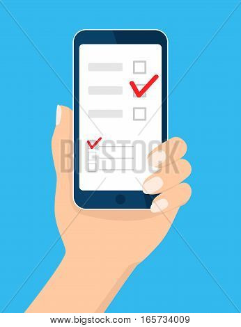 Online survey, checklist. Hand holds mobile phone, smartphone and finger touch screen. Feedback business concept. Cartoon flat vector illustration isolated on blue. Design for web site, mobile app