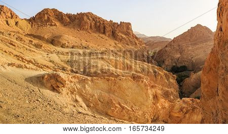 Image of typical desert landscape with rocks in Middle East