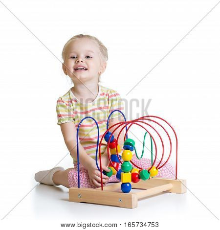 pretty kid with color educational toy isolated