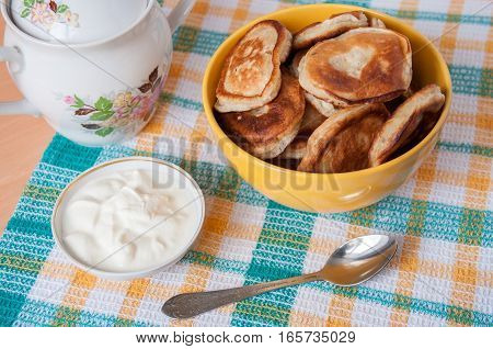 Delicious Pancakes With Sour Cream For Breakfast