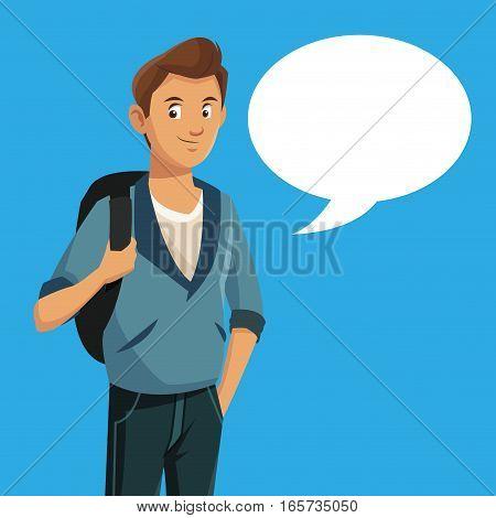 boy teen rucksack student with bubble speech vector illustration eps 10