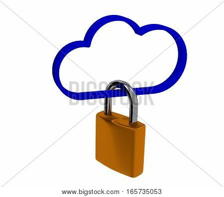Safety concept with a cloud shape and a padlock 3d rendering