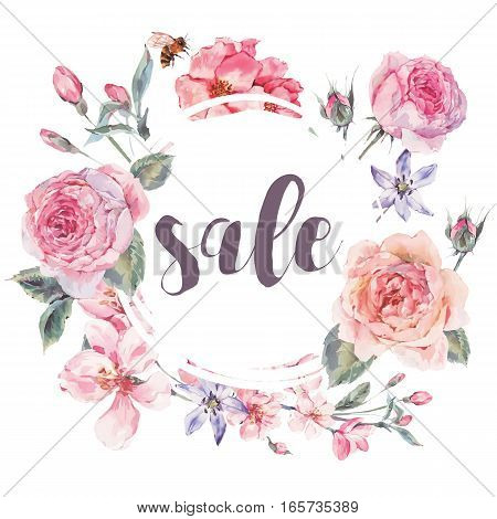 Classical vector spring vintage floral sale card, bouquet of pink flowers blooming branches of cherry, english roses and bee, botanical natural watercolor illustration on white background Love You