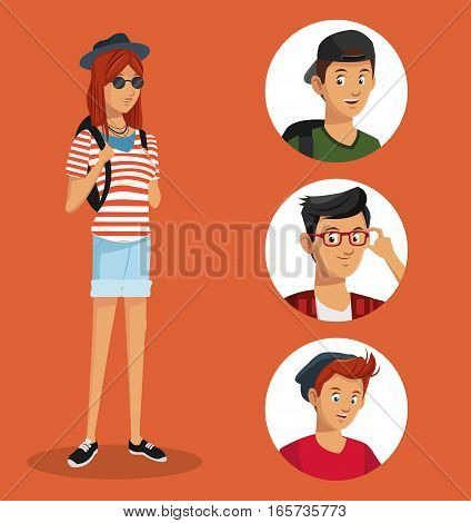 girl hipster teen boys icons vector illustration eps 10