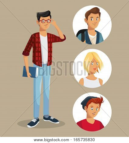 teen boy with glasses book friends icons vector illustration eps 10