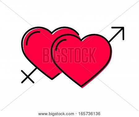 Hearts gender symbol. Male and female sex. Vector red flat line icon isolated on white. Cartoon style. Love romance elements. Sticker, patch, badge, card for marriage, Valetine's Day, wedding sign