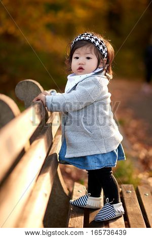 Baby girl standing on the wood bench