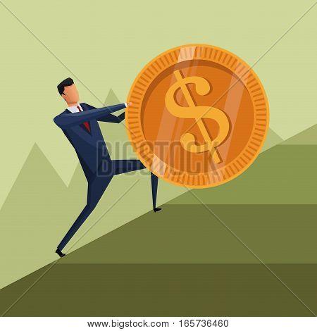 man business growth coin climb work vector illustration
